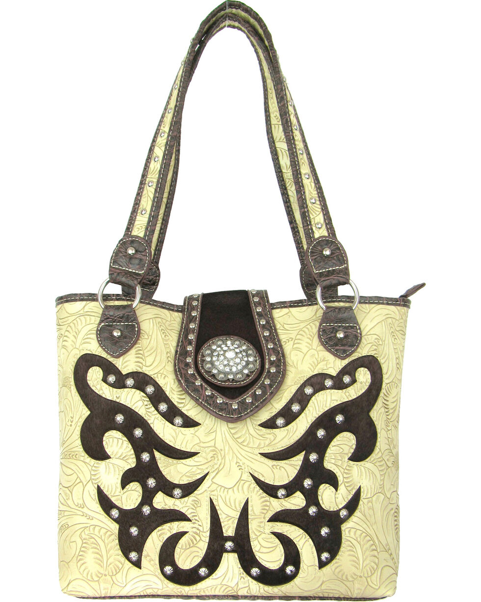 Savana Women's Concealed Carry Tote Bag with Hair-On Inlays, Ivory, hi-res