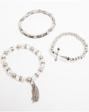 Shyanne Women's Crystal Cross Pearl Beaded 3 Pack Bracelet Set, Silver, hi-res