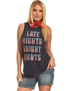 Shyanne Women's Embroidered Late Nights Bright Lights Tank, Navy, hi-res