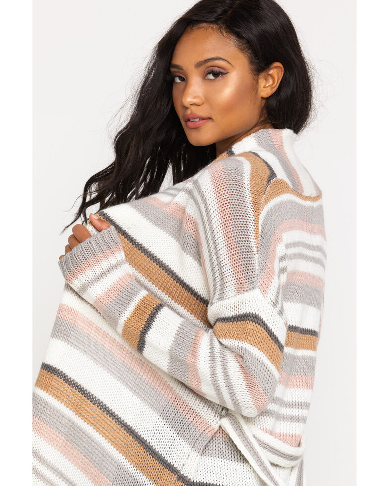 Rag Poets Women's Multi-Color Stripe Cardigan Sweater, Ivory, hi-res