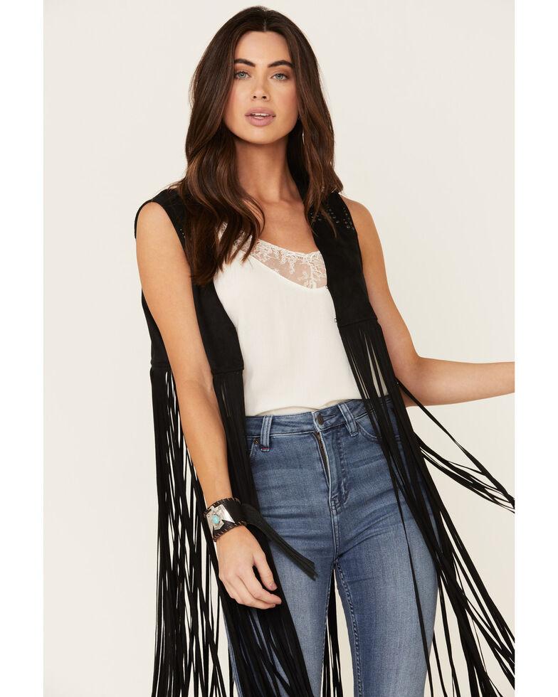 Idyllwind Women's Sway to The Music Studded Fringe Vest, Black, hi-res
