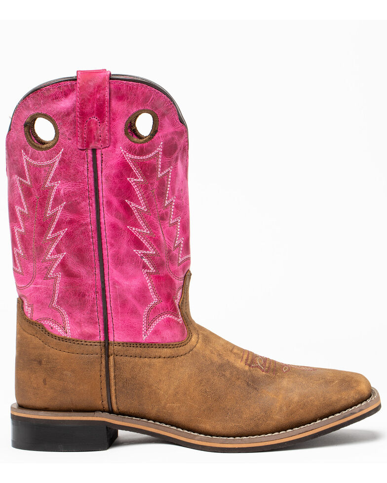 Cody James Girls' Pink Top Western Boots - Square Toe, Brown/pink, hi-res