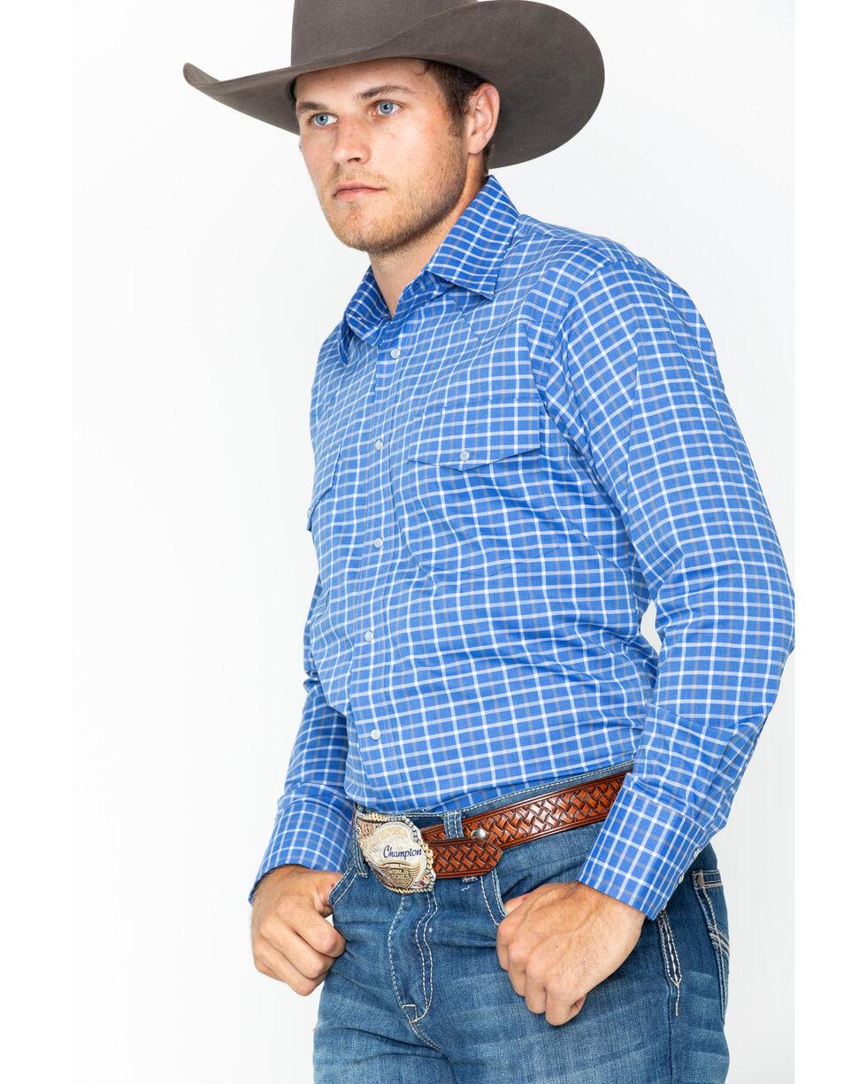 Wrangler Men's Wrinkle Resist Blue Plaid Long Sleeve Western Snap Shirt, Blue, hi-res