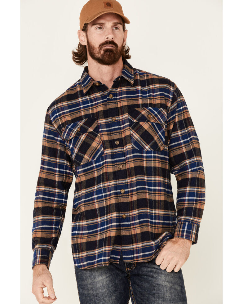 Pendleton Men's Navy Burnside Plaid Long Sleeve Western Flannel Shirt , Navy, hi-res
