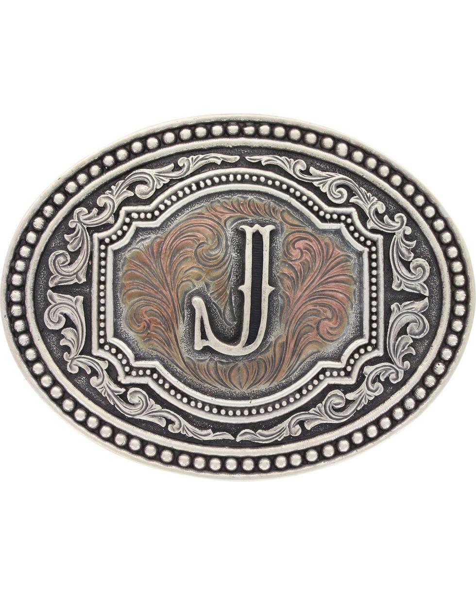 Montana Silversmiths Initial J Belt Buckle, Silver, hi-res