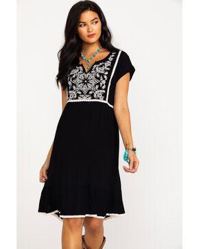 Bila Women's Embroidered Front Short Sleeve Dress  , Black/white, hi-res