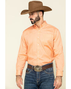 Ely Cattleman Black Label Men's Coral Geo Print Long Sleeve Western Shirt , Coral, hi-res