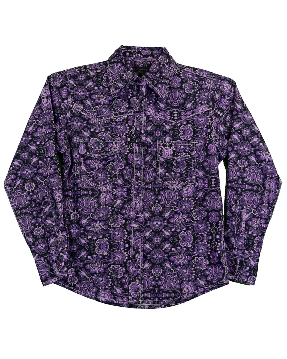 Cowgirl Hardware Girls' Peacock Long Sleeve Western Shirt, Purple, hi-res