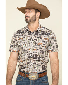 Dale Brisby Men's Conversational Bull Print Short Sleeve Western Shirt , Tan, hi-res