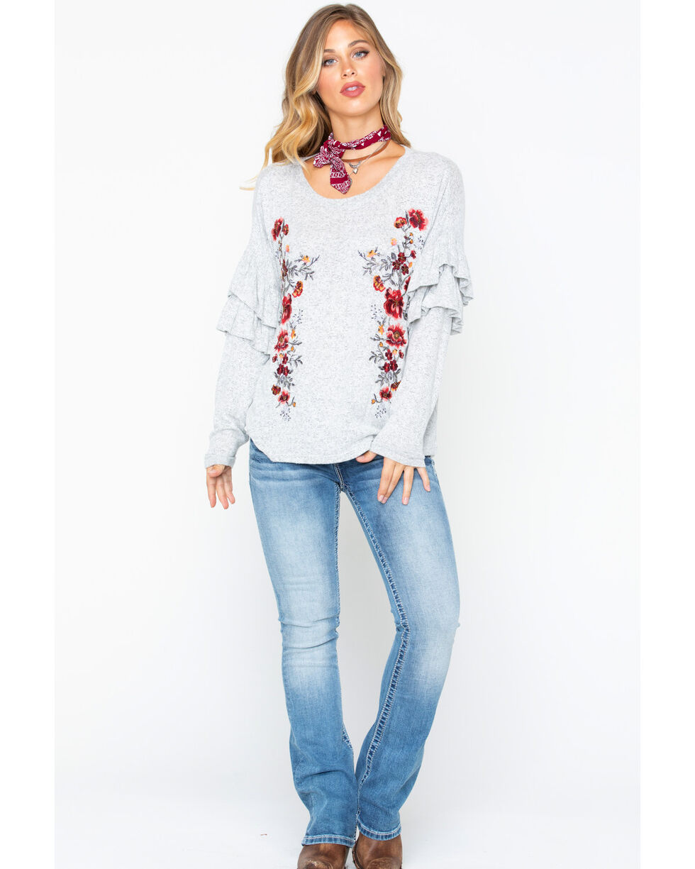 Miss Me Women's Soft Embroidered Ruffle Top , , hi-res