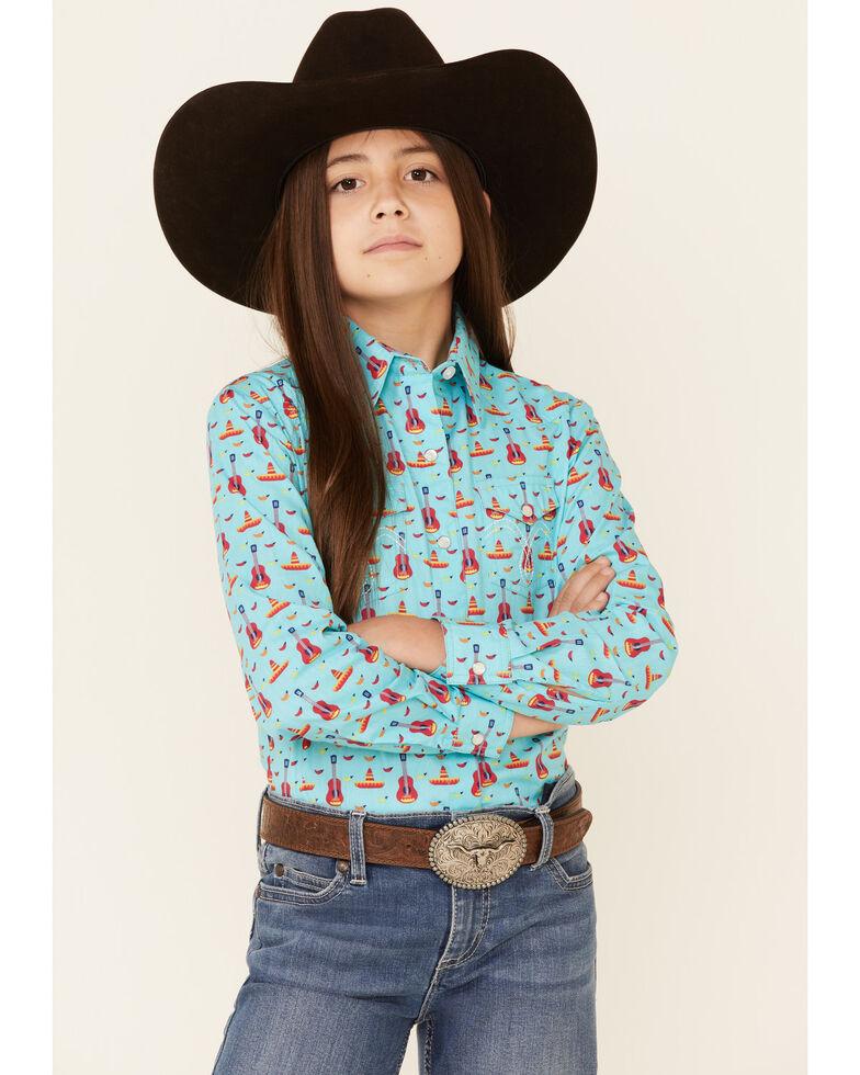 Panhandle Girls' Turquoise Guitar & Sombrero Print Long Sleeve Snap Western Shirt , Turquoise, hi-res