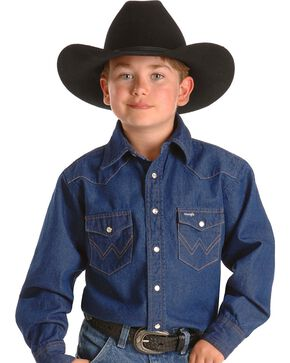 Wrangler Boy's Basic Western Solid Snap Shirt, Denim, hi-res