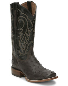Tony Lama Men's Augustus Chocolate Western Boots - Wide Square Toe, Chocolate, hi-res
