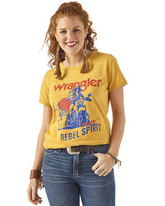 Wrangler Retro Women's Mustard Rebel Spirit Moto Tee, Dark Yellow, hi-res