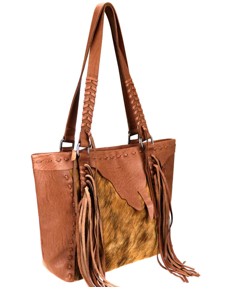 Delila by Montana West Women's Brown Leather Fringe Hair-On Tote, Brown, hi-res