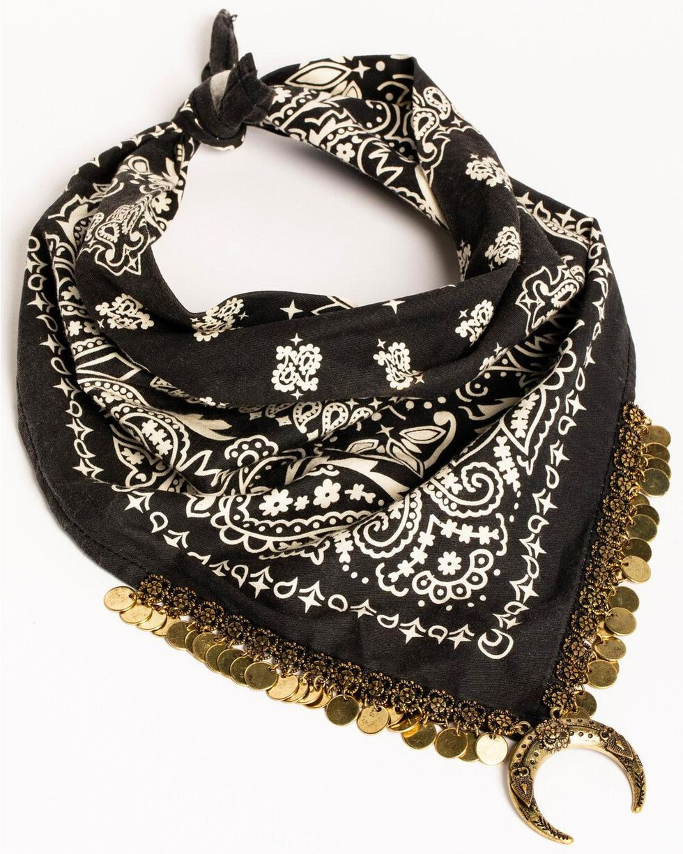 Idyllwind Women's Moon Shadow Bandana Necklace, Black, hi-res
