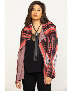 Rock & Roll Cowgirl Women's Open Front Aztec Cardigan , Red, hi-res