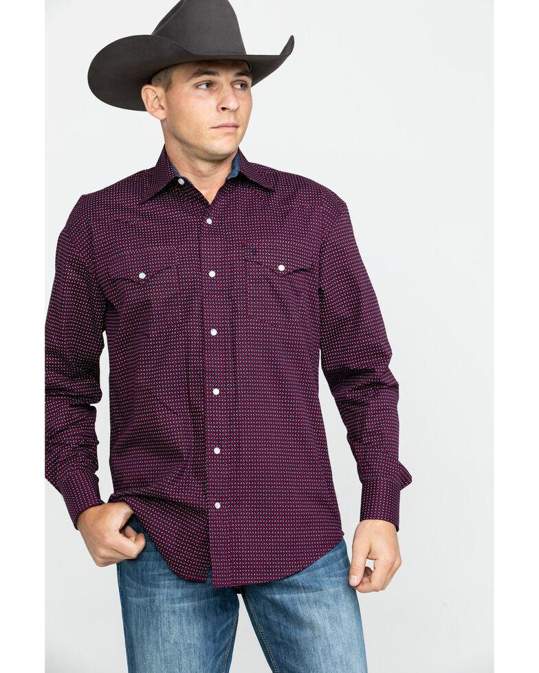 Stetson Men's Wine Geo Print Snap Long Sleeve Western Shirt , , hi-res