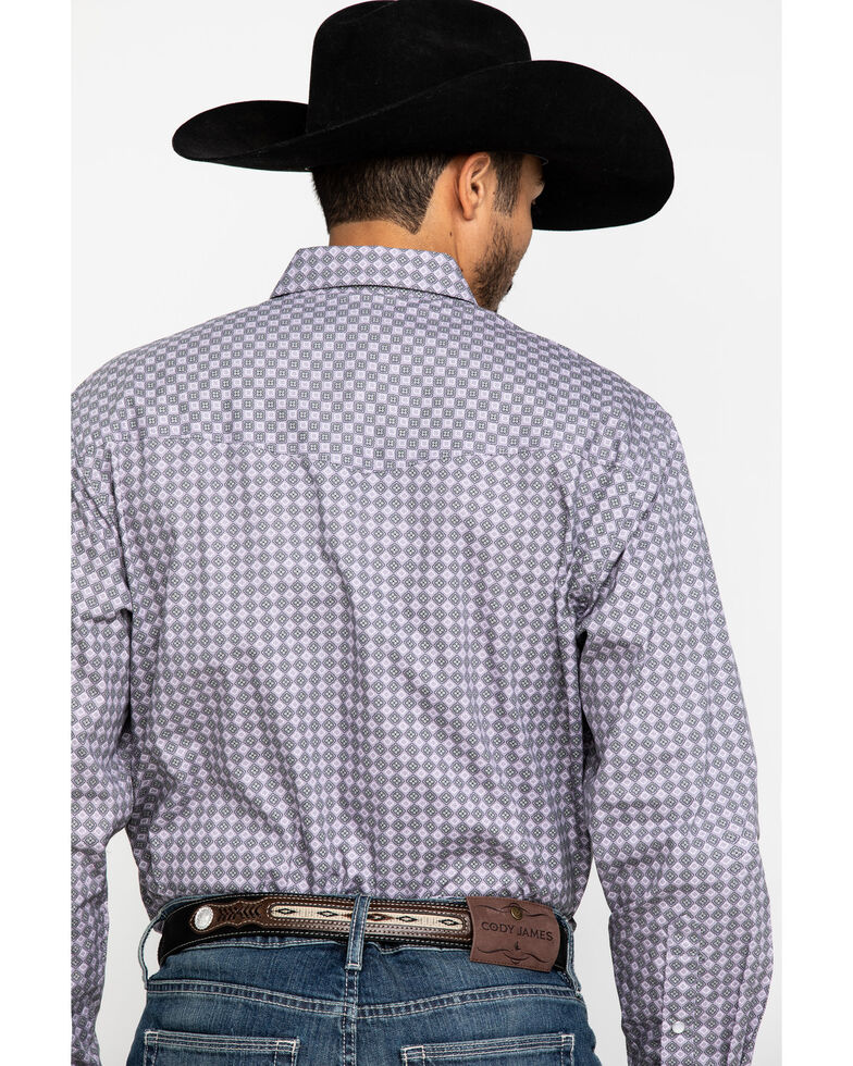 Resistol Men's Grey Clewiston Geo Print Long Sleeve Western Shirt , Grey, hi-res