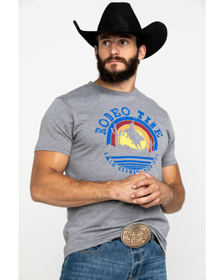 Dale Brisby Men's Rodeo Time Sunset Bull Rider Graphic T-Shirt , Grey, hi-res