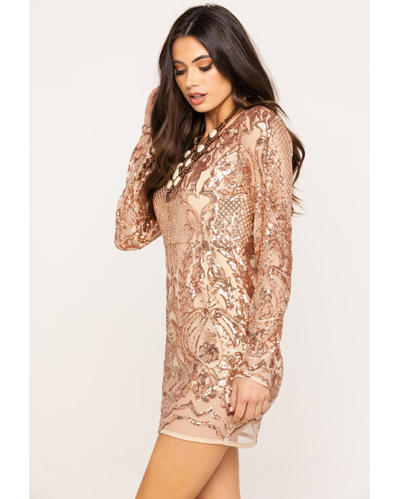 Very J Women's Rose Gold Sequin Long Sleeve Dress, Rose, hi-res