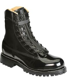 "Chippewa Polishable 8"" Black Zip and Lace-Up Work Boots - Steel Toe, Black, hi-res"