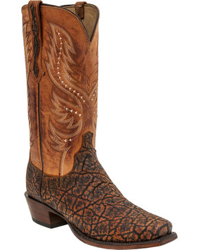 Lucchese Handmade Wes Elephant Exotic Western Boots - Snip Toe , Cognac, hi-res