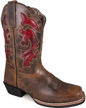 Smoky Mountain Women's Claire Red Inlay Cowgirl Boots - Square Toe, Brown, hi-res