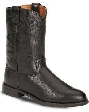 Justin Men's Stampede Roper Western Boots, Black, hi-res