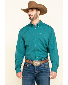 Cinch Men's Arena Flex Solid Green Long Sleeve Western Shirt , Green, hi-res