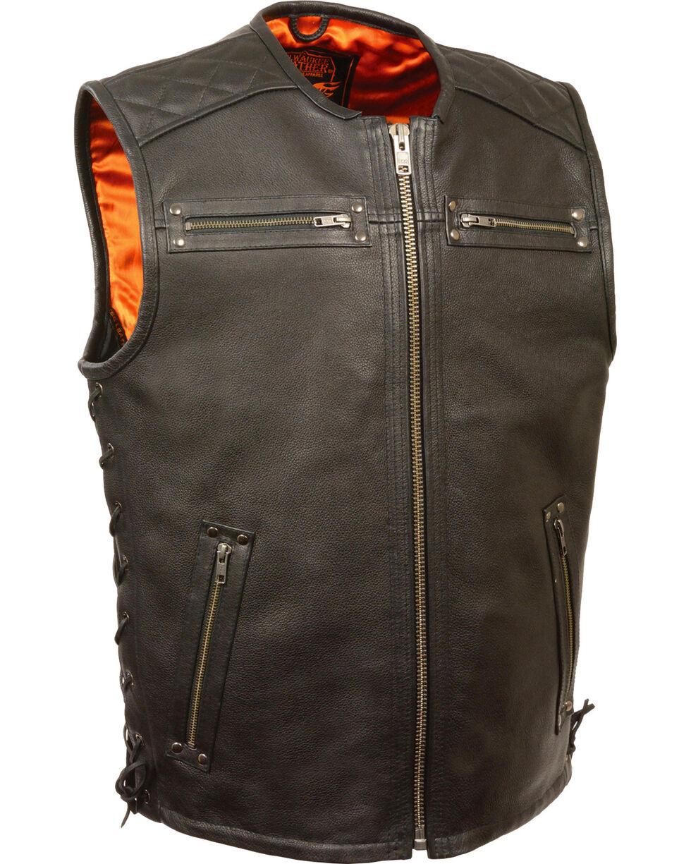 Milwaukee Leather Men's Zipper Front Full Side Lace Leather Vest, Black, hi-res