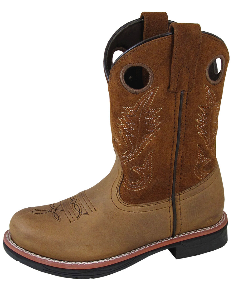 Smoky Mountain Boys' Buffalo Western Boots - Round Toe, Brown, hi-res