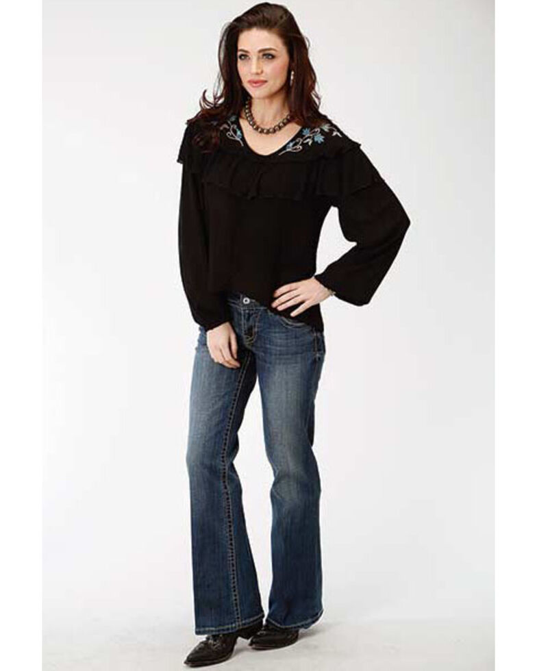 Studio West Women's Autumn Meadow Embroidered Long Sleeve Blouse, Black, hi-res