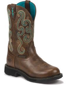Justin Women's Waterproof Western Work Boots, Chocolate, hi-res