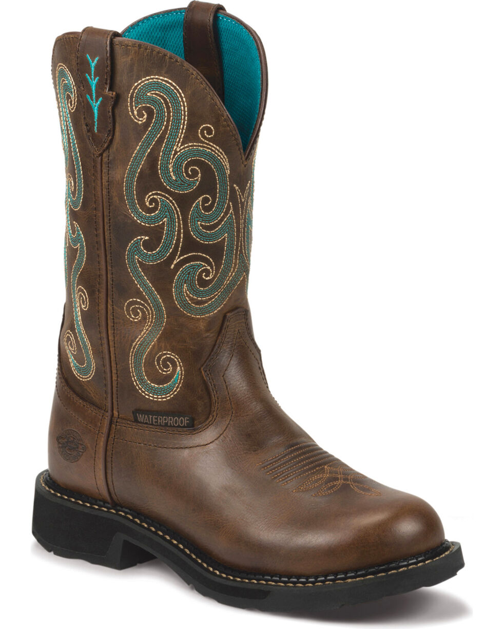 Justin Women's Waterproof Western Work Boots, Chocolate, hi-res