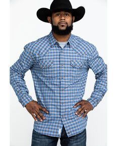 Moonshine Spirit Men's Hillbilly Plaid Long Sleeve Western Shirt , Brown/blue, hi-res