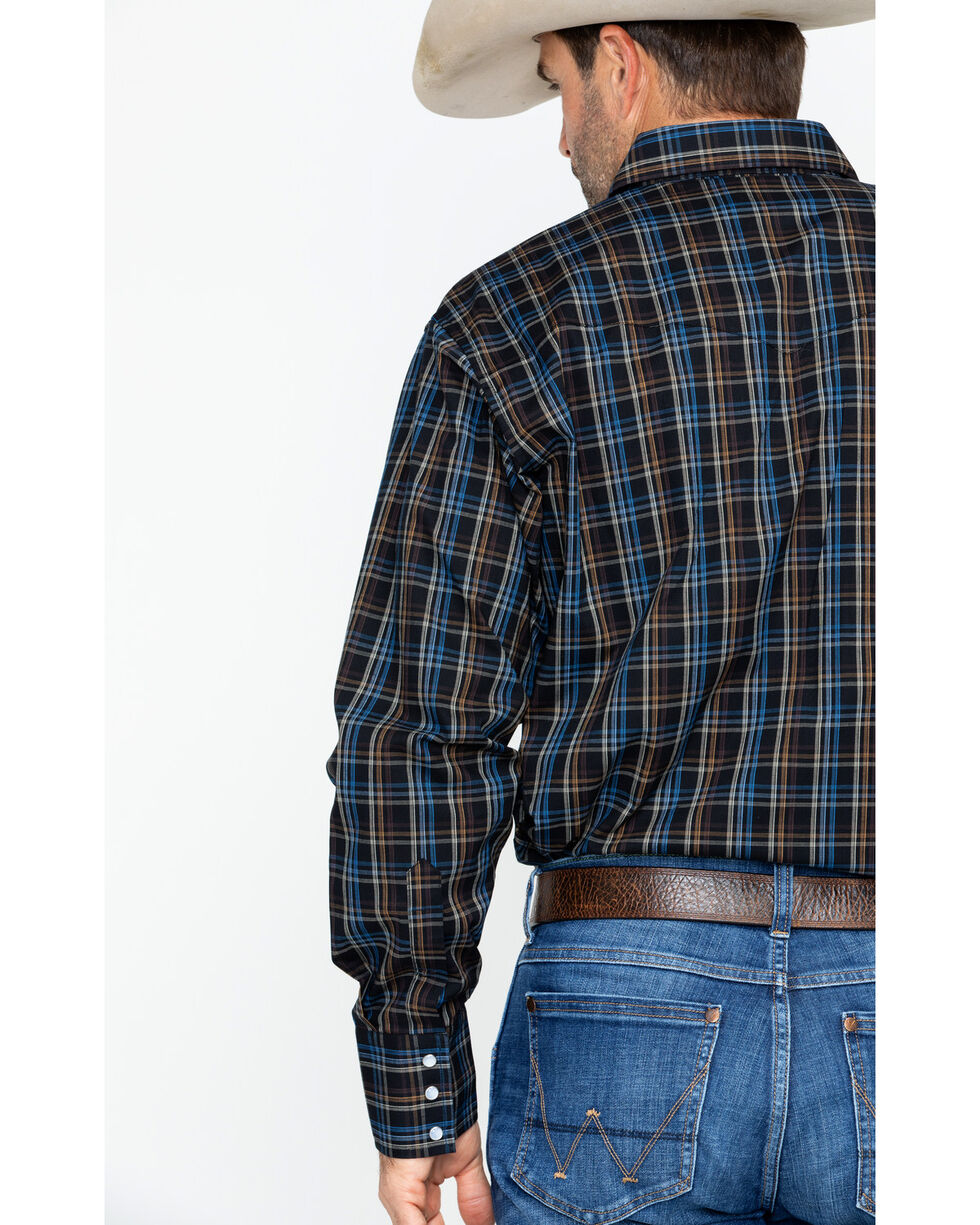 Wrangler Men's Long Sleeve Wrinkle Resist Mini Plaid Shirt , Black/blue, hi-res