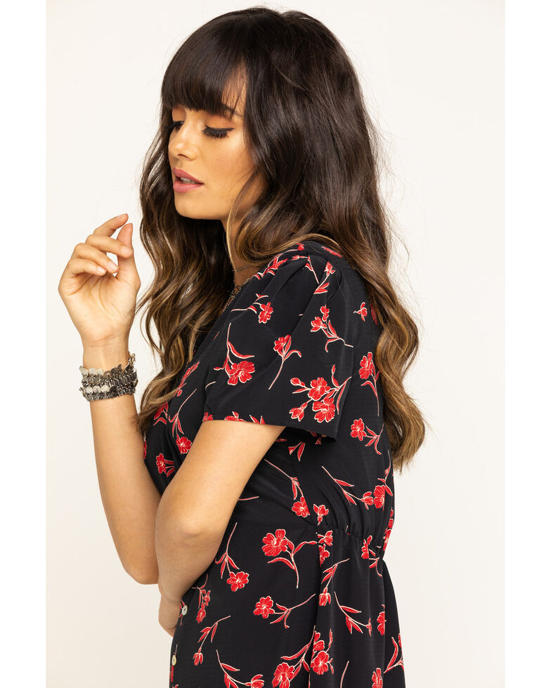 Nikki Erin Women's Floral Button Front Short Sleeve Dress, Black, hi-res