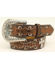 Ariat Girls Studded Cross Inlay Belt, Brown, hi-res
