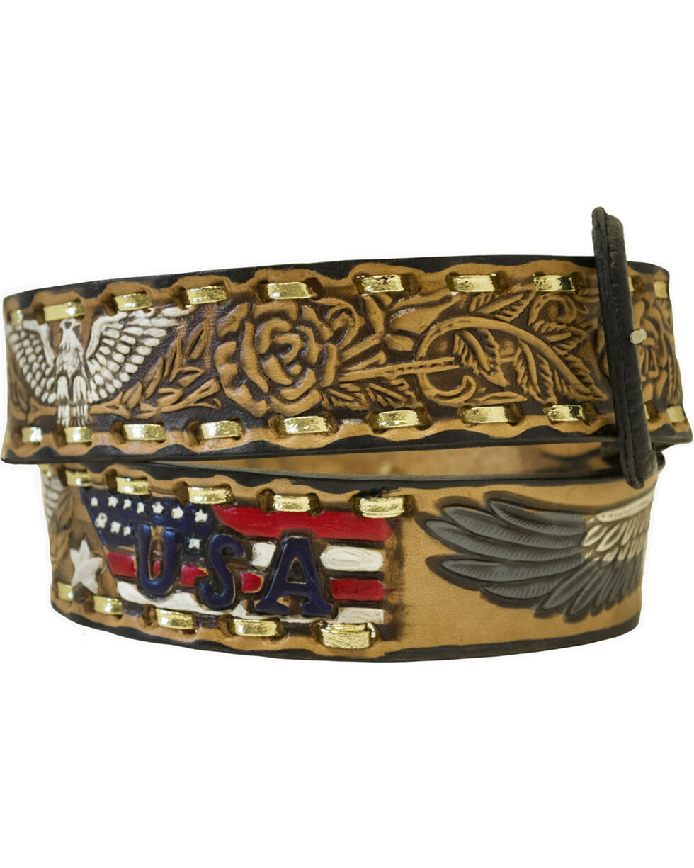 Western Express Men's Brown Eagle and USA Tooled Belt , Brown, hi-res