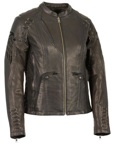 Milwaukee Leather Women's Lightweight Scuba Racer  Leather Jacket, Black, hi-res