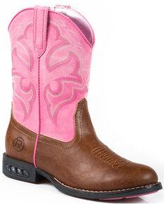 Roper Girls' Lightning Light-Up Western Boots, Tan, hi-res