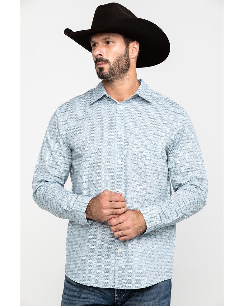 Gibson Men's Tejano Aztec Geo Print Long Sleeve Western Shirt , Light Blue, hi-res