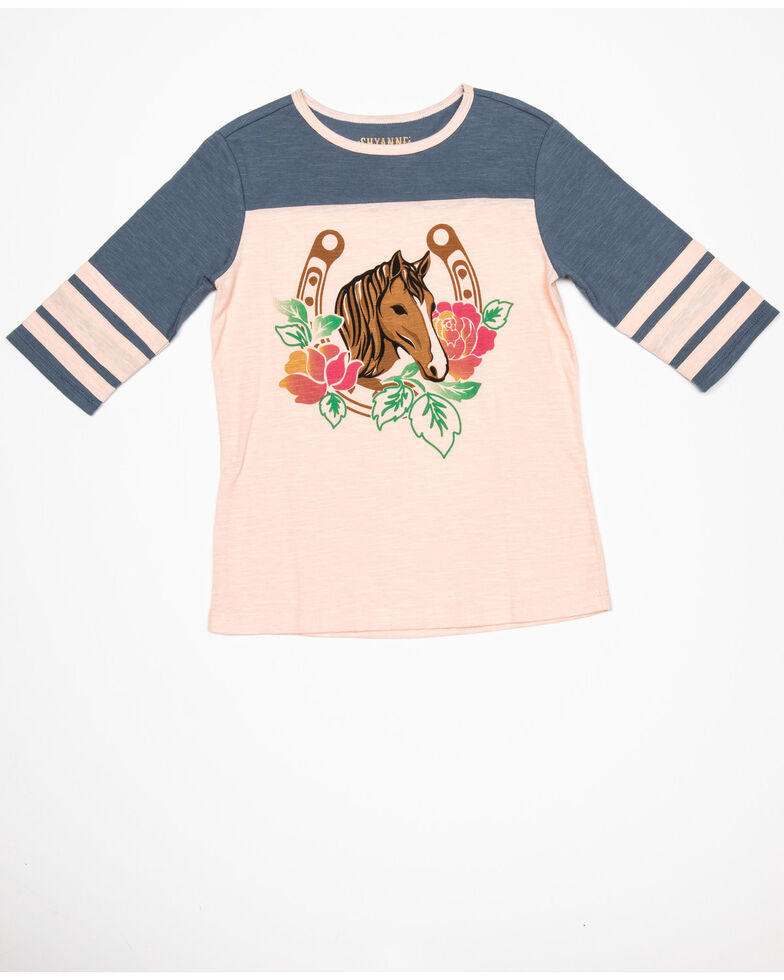 Shyanne Girls' Floral Horse Graphic Athletic Tee, , hi-res