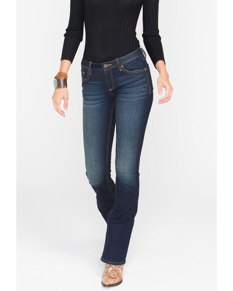 Miss Me Women's Refined Beauty Mid-Rise Boot Cut Jeans, Dark Blue, hi-res