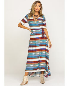 Stetson Women's Serape Print Short Sleeve Wrap Dress, Multi, hi-res
