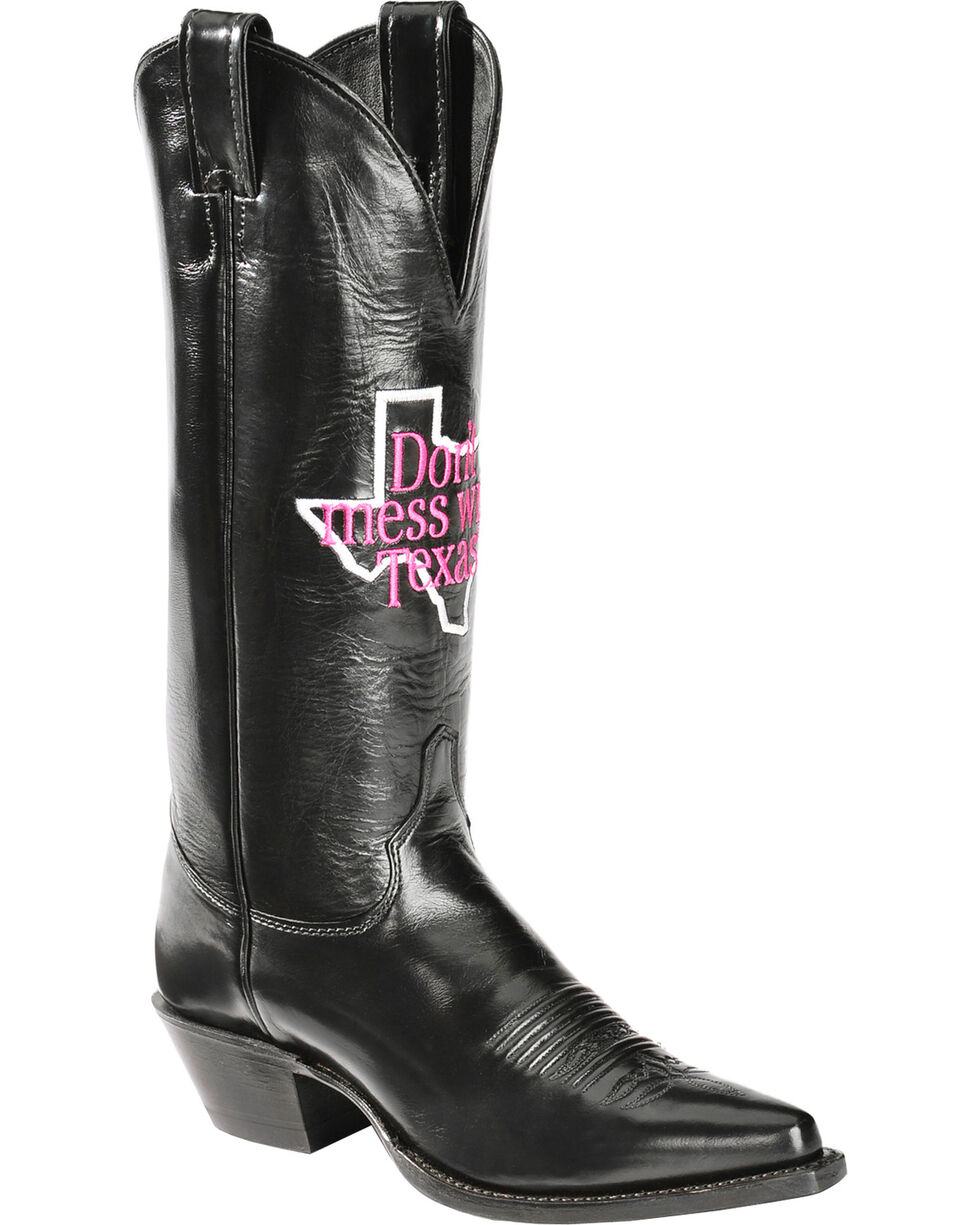 "Justin Women's ""Don't Mess With Texas"" Calfskin Western Boots, Black, hi-res"
