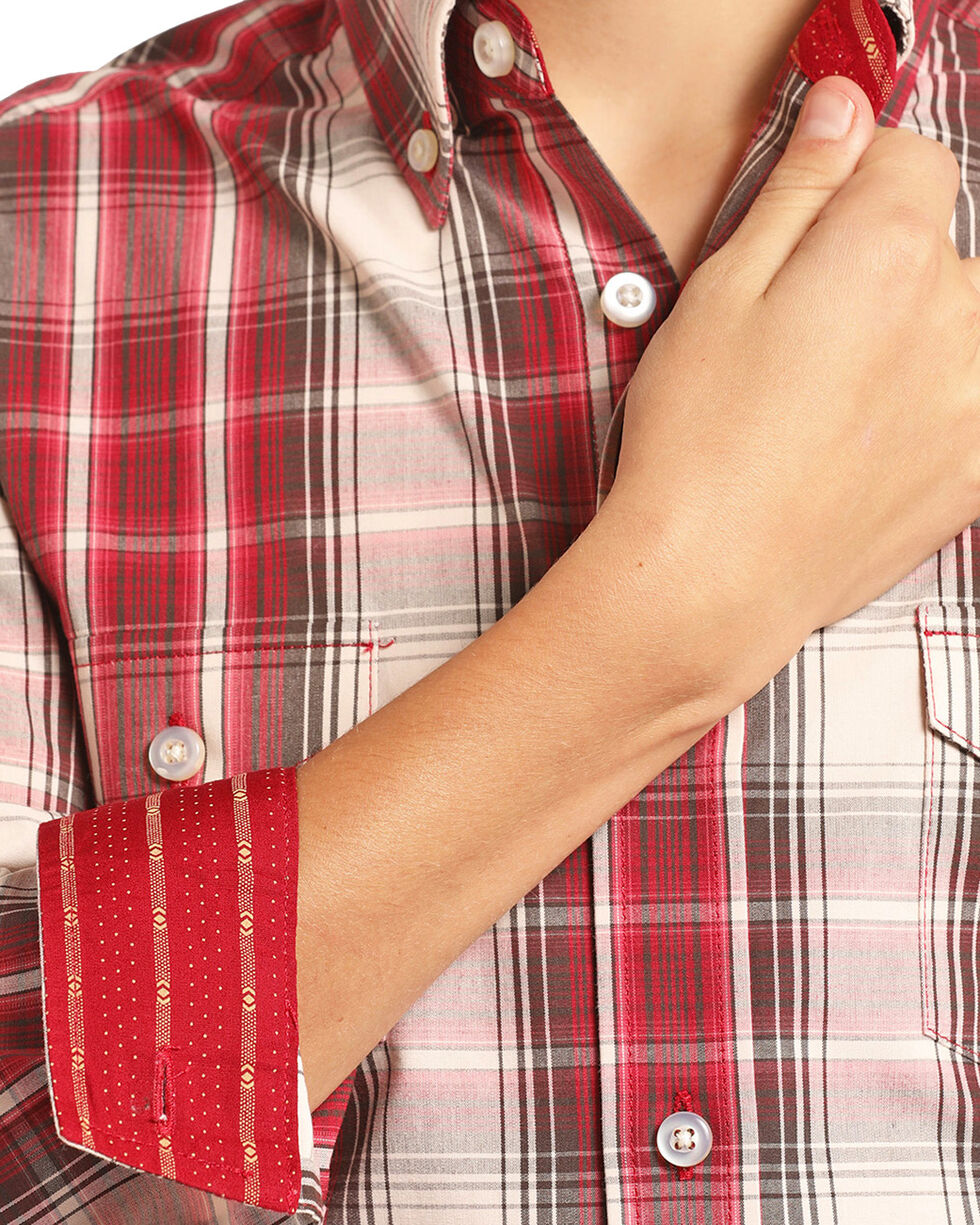 Panhandle Select Boys' Red Plaid Long Sleeve Button Down Shirt, Red, hi-res