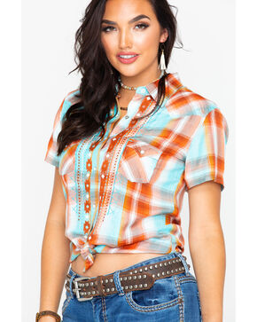 Panhandle Women's Plaid Aztec Embroidered Short Sleeve Western Top , Multi, hi-res