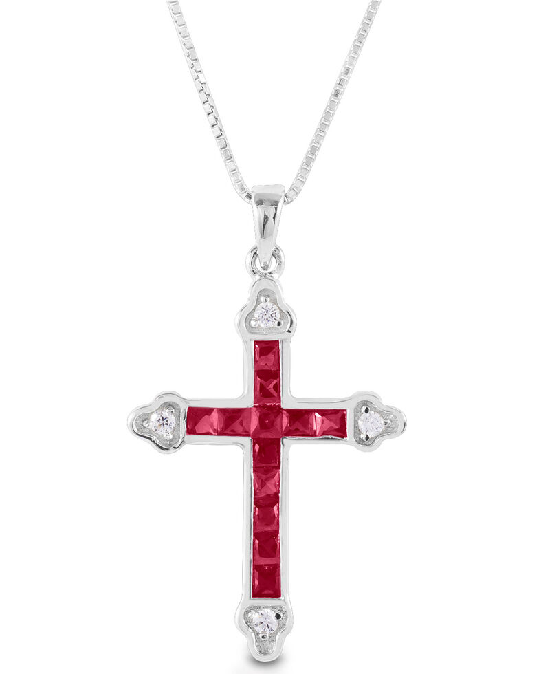 Kelly Herd Women's Red Cross Necklace , Silver, hi-res